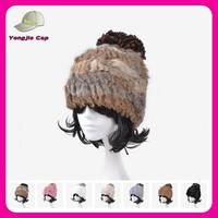 factory wholesale rabbit high quality women winter fur hat with ball