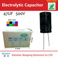 Ralial Type high voltage capacitors bank 47uf 500v for energy saving lamp