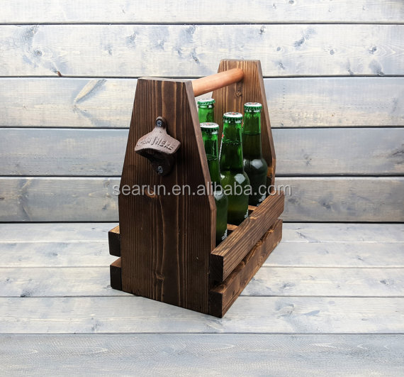 vintage wood beer carrier 6 pack wooden beer wine bottle caddy/tote
