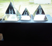 3D Laser Etch Crystal Glass Egypt Pyramid Paperweight SET MH-F0497