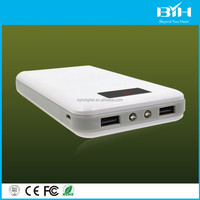 High Big Capacity PC Case Digital Screen /Led Lights Power Bank with dual usb for ipad iphone 18000mah