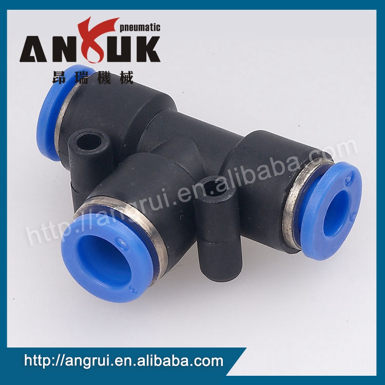 Quick PE E type tee connect fitting, pneumatic fittings price
