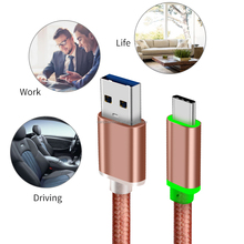 LED Fast Charge Type-C to USB 3.0 A Cable Rose Gold Braiding with Metal housing head