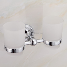 Hotel bathroom accessories wall-mounted BRASS+ZINC double tumbler holder toothbrush tumbler holder double cup in bathroom