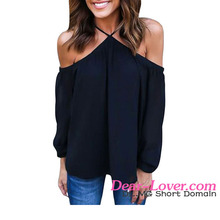 Sexy Fashion Black Long Sleeve Off Shoulder Halter Top ladies long tops