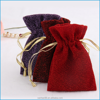 Promotional customize new type good quality Flash fabric drawstring jewelry bag gift pouch