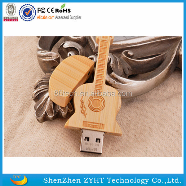 hot new fashion design Bamboo Guitar USB 2.0 Flash Drive Thumb Stick Storage with Wooden Box 16GB with free shipping