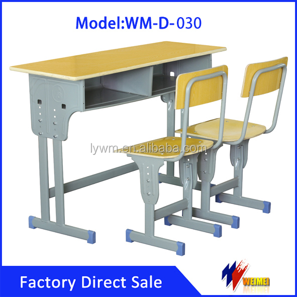 Modern Cheap Study Adjustable Double Student Desk and Chair in School