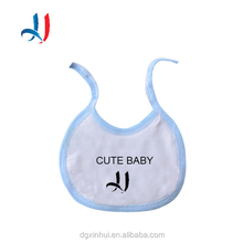 OEM Service Eco-friendly Custom Embroidery Soft Washable Plain white 100% cotton Baby Bibs with String Closure