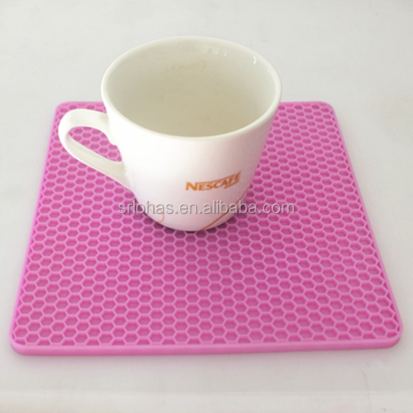 promotional customized silicone rubber cup mat/ coaster pot holder silicone custom