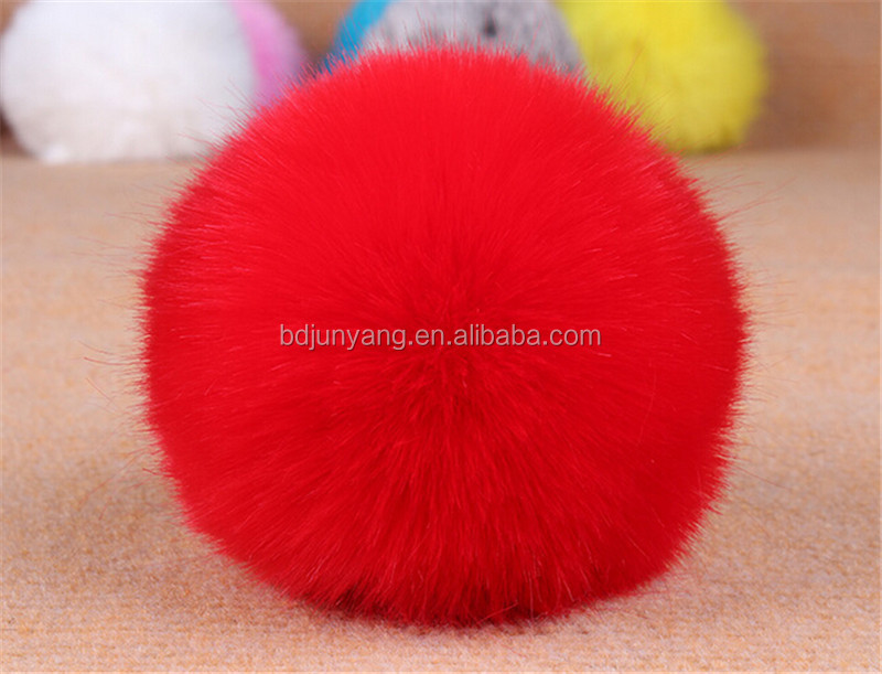 collectable round rabbit fur ball keychain girl with animals sex fur keychain