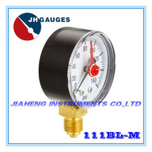 "2.5"" plastic case double pointer phosphor bronze bourdon tube pressure gauge with adjustable red pointer"