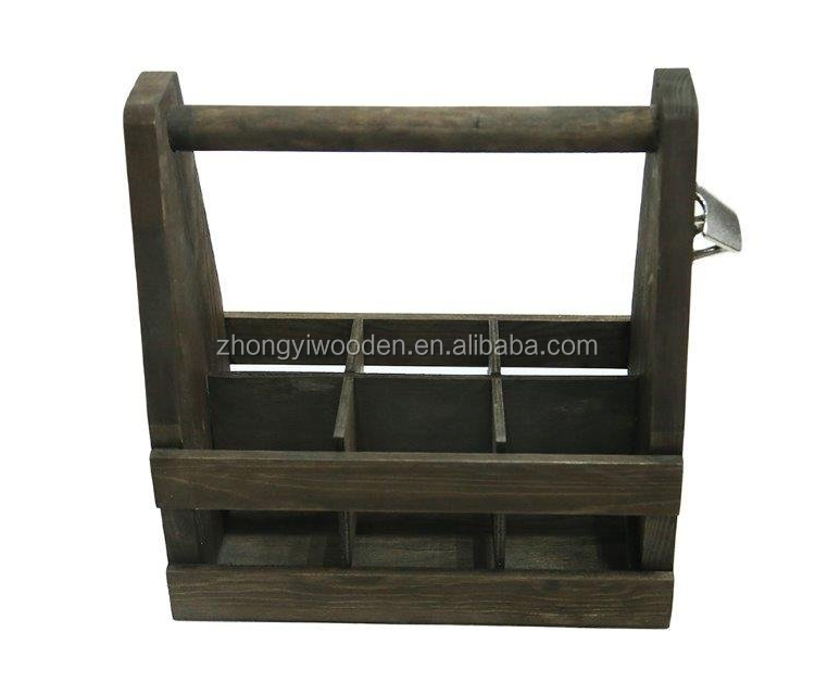 wholesale china factory BSCI rustic country Wooden 6 Pack Beer Bottle Holder Caddy Carrier with opener