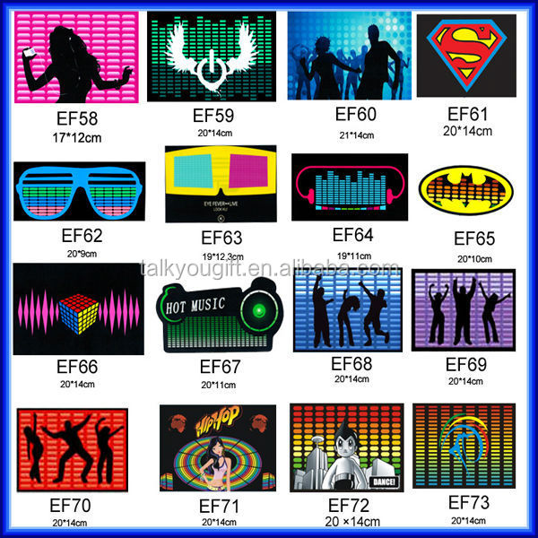 Sexy printing electroluminescent led flashing t shirt for disco music concert party, led el pannel t shirt & equalizer t shirt