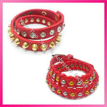 Leather and crystal wrap bracelets for women