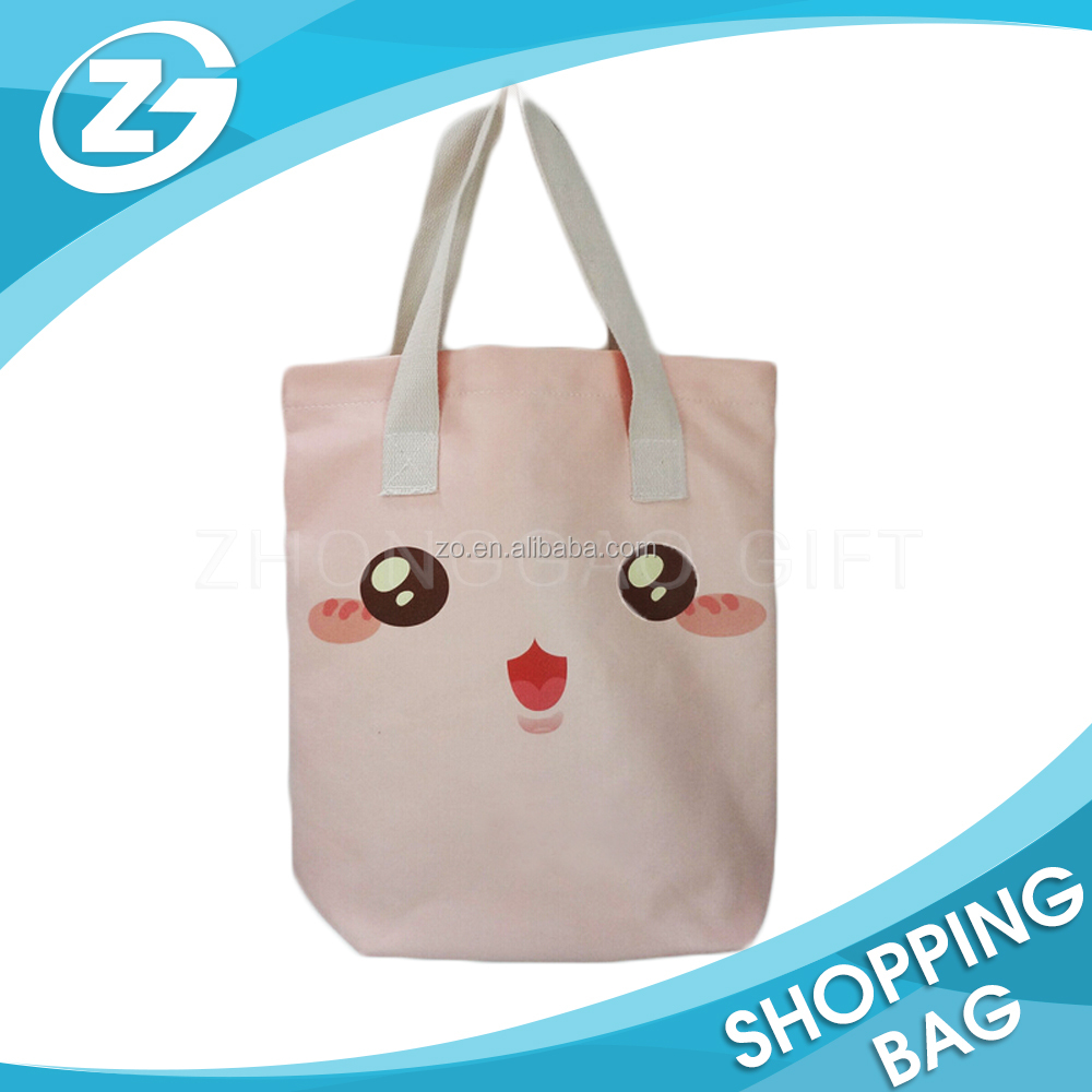 China Manufacturer Personal Design Lovely Image Printed Reusable Cotton Canvas Fabric Custom Tote Bag