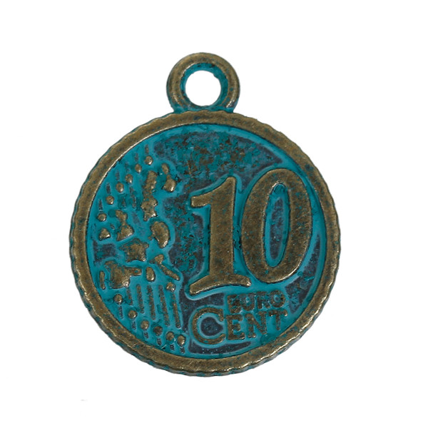 Zinc Based Alloy Patina Charms Coin Antique BronzeFashion Metal Pendants