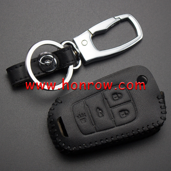 For Honrow 3+1 button key leather case used for 09-14 Chev.Cruze.AVEO.CAPTIVA.Malibu.