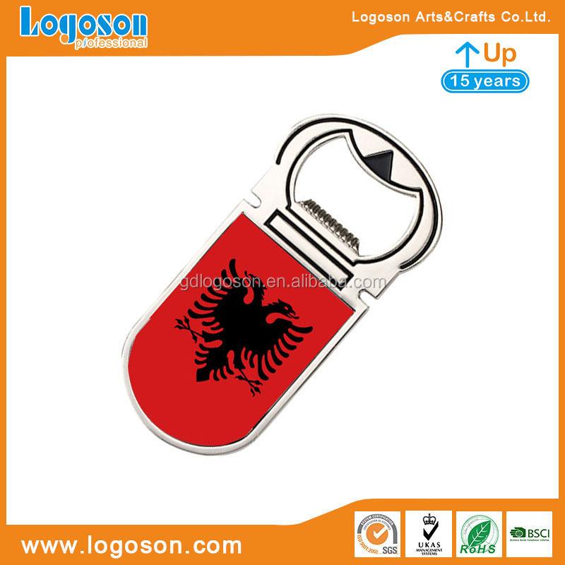 Cheap Albania Souvenirs Corporate Gift Handmade Multi-function Flag Keychain Aluminum Bottle Opener Keyring