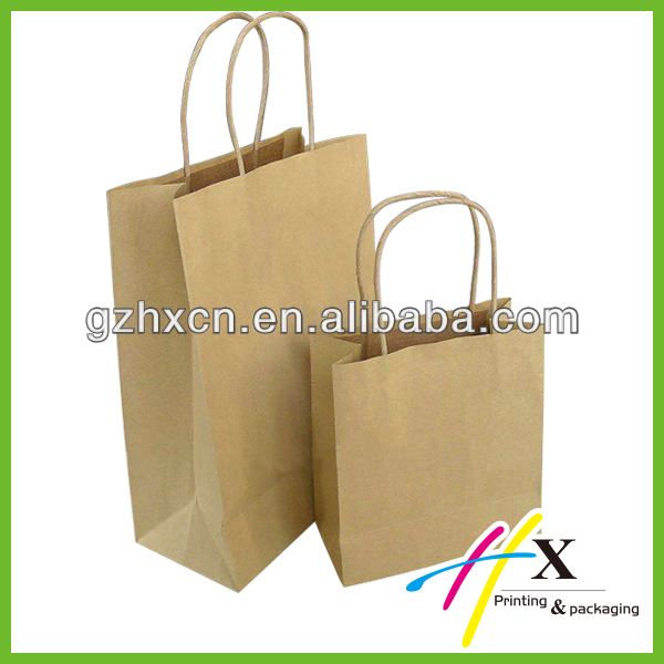 Plain design kraft paper packaging carry bag wholesale