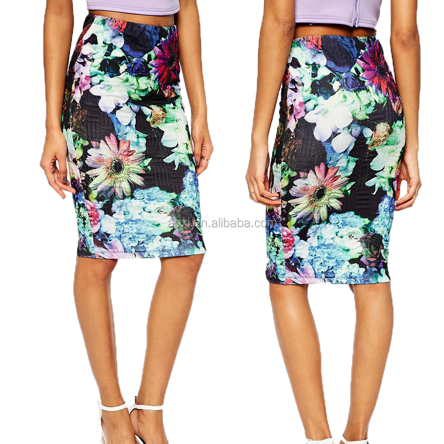 Chinese OEM Factory Ladies New Design Hot Sale Skirt Women Printed Colorful Flowers Long maxi skirt