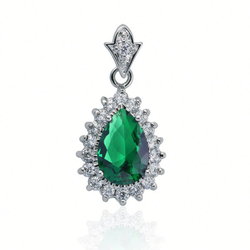 Women's Jewelry Emerald Crystal white gold plated Cubic Zirconia Sterling Silver jade solitaire cz Pendant for necklace bracelet
