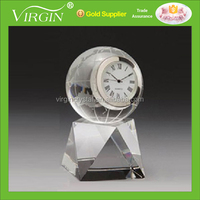 Crystal glass Globe Crystal Desktop decoration business Clock with base/Promotional Clock