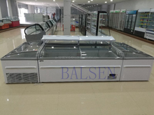 Commercial auto-defrost aht island freezer for sale with CE certification