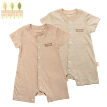 Summer Spring Babywear brown white Plain Baby Rompers