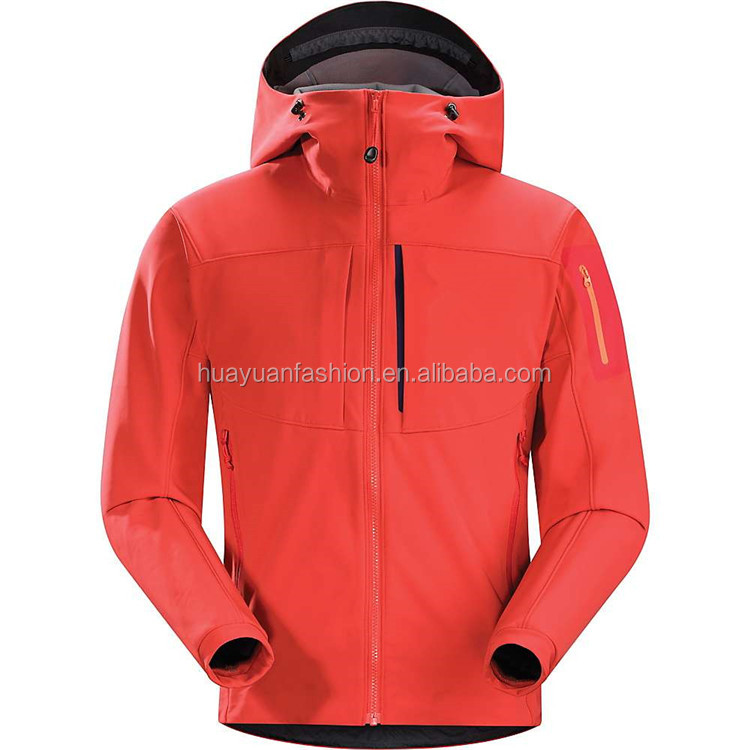 Fashion red plain softshell jacket winter man waterproof fabric for jacket