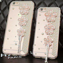 Elegant Cherry Blossom With Tassel Pearl Diamond Rhinestone soft tpu phone Case Cover For iPhone 7 6 6S Plus 5S SE