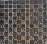 15x15 promotional stainless steel mix glass mosaic tile in stock
