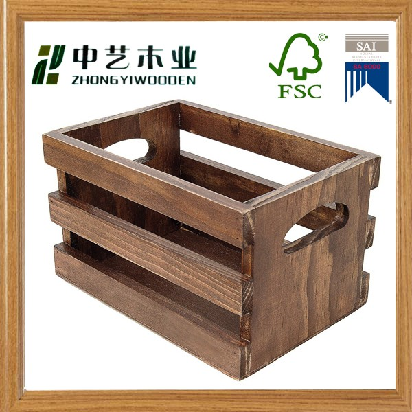 Hot sale high quality custom antique wooden wine crate handmade unfinished wooden fruit crates