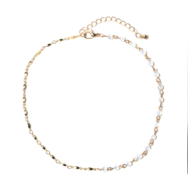 Artilady one side bead crystal simple gold chain choker neckalce design