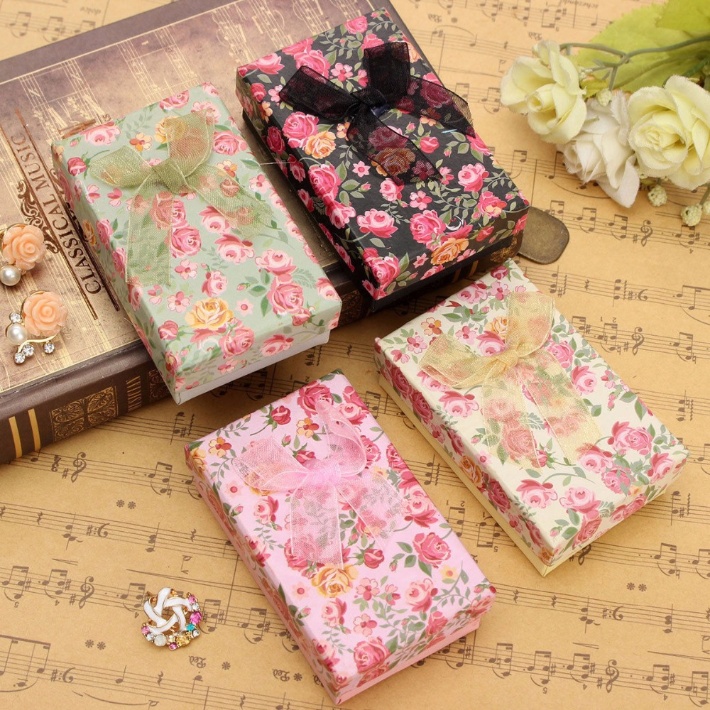 Rose Floral Bowknot Jewelry Pendant Necklace Earrings Ring Box Case Paper