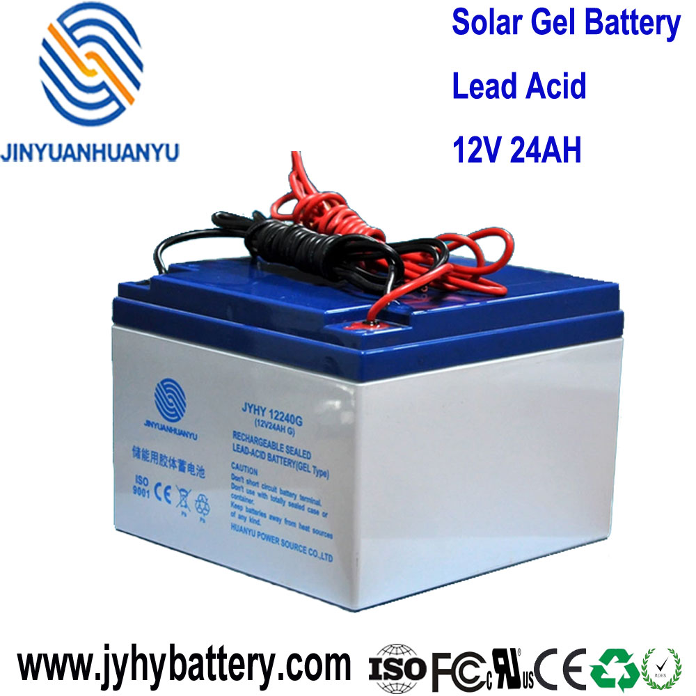 12V 24AH Sealed Deep Cycle GEL Battery with cable for solar and wind system