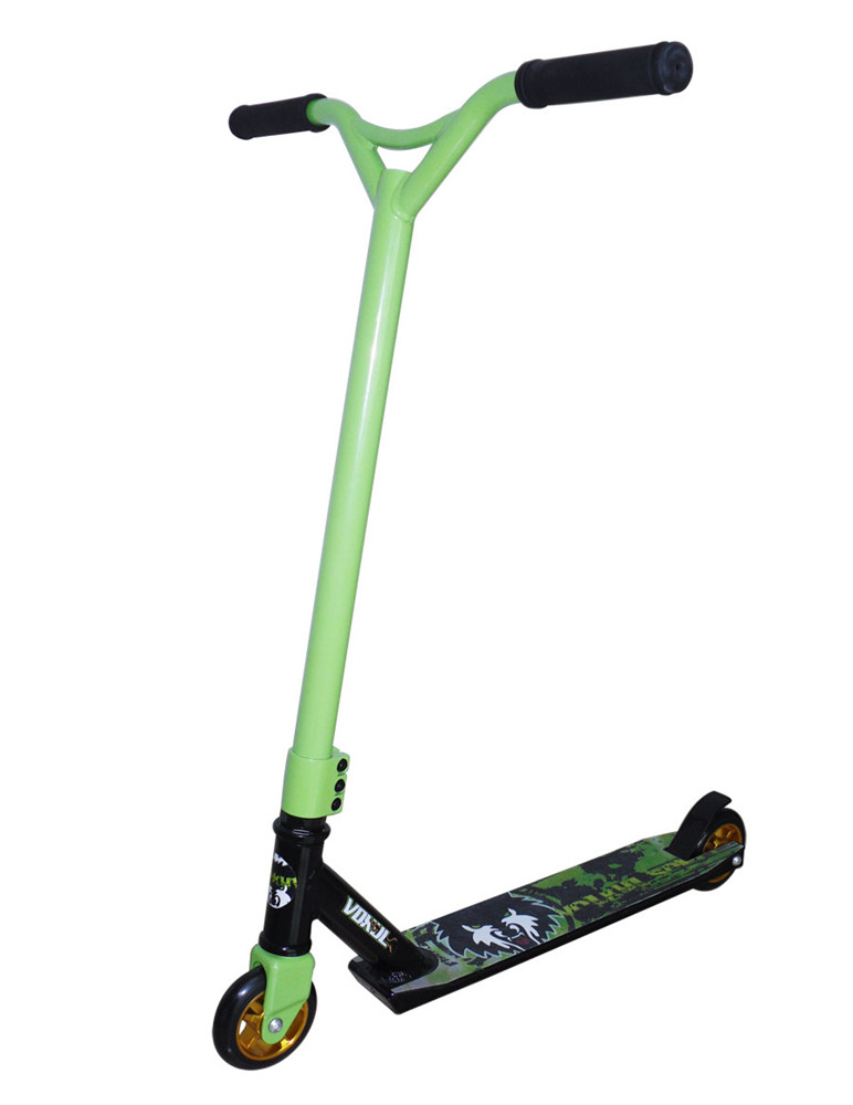 Black handle CNC 6061 aluminum core wheels green pro stunt kick scooter vokul