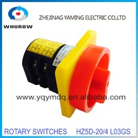 YM Rotary switch HZ5D-20/4 L03GS pad lock power cut off switch 2 poles 2position on-off sliver contacts changeover switch HZ12