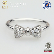 2016 Fashion Jewelry engagement wedding ring bow 925 sterling silver finger ring
