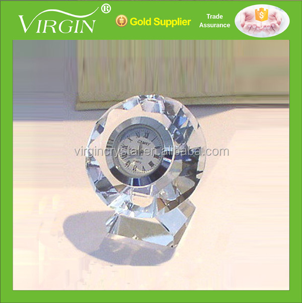 Exquisite crystal diamond cutting clock with stand for wedding anniversary souvenirs