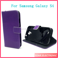 Hot selling For Samsung Galaxy S4 Case, Strong Magentic Button Flip Leather Case For Samsung Galaxy S4
