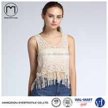 Casual Ladies Sleeveless Wide Neck Lace Crochet Sexy short Tank Tops for Women