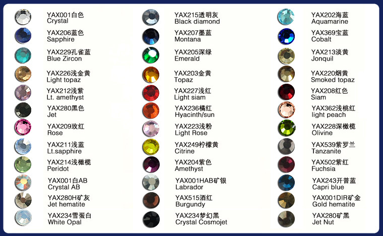 0522 YAX factory cheap price Rainbow Color SS 10 China Hot Fix Rhinestone For Clothings dressings, glue rhinestone for PU PV