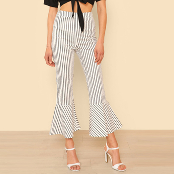 Women Clothing Blue Striped Ruffle Trim Work Trousers