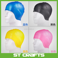 Lowest MOQ ST fashion silicone swimming cap,ear protection swimming caps,women swim cap