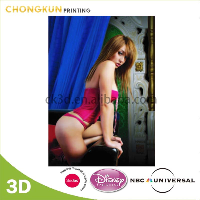 High Quality 3D Lenticular Art Pictures of Hot Girls for Wall Decoration