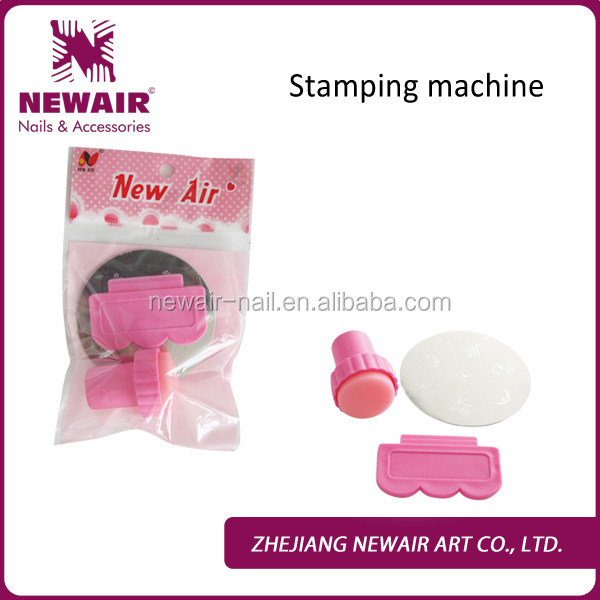 Stamping or printing nail art machine with 1 template for DIY at home