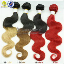 2015 Two Tone Color 1b/burgundy 6a Body Wave Brazilian Ombre Hair Weave Extensions