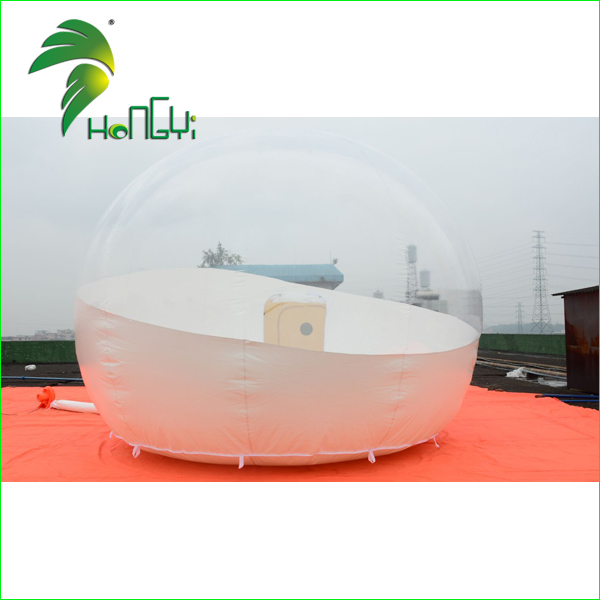 Outdoor Camping Half Transparent Bubble Tent, Clear Inflatable Tent, 4M Diameter Airtight Transparent Bubble Tent