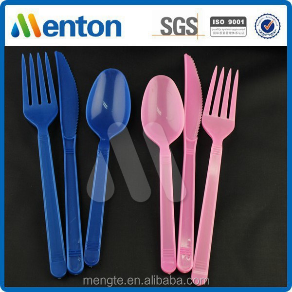colorful plastic fork spoon knife in one